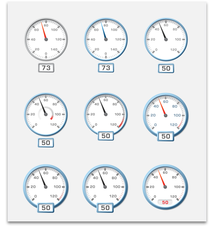 Various Tim Smith designs for AppDesigner's dial widget